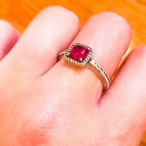 Zales 💋 RUBY 💋 & diamond 💍 birthstone ring!